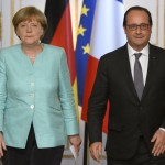 Merkel et Hollande hier à Paris (Photo AFP)