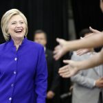 Hillary hier à Long Beach (Photo AFP)