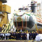 """Le lancement du premier """"Scorpène"""" l'an dernier en Inde (Photo AFP)"""